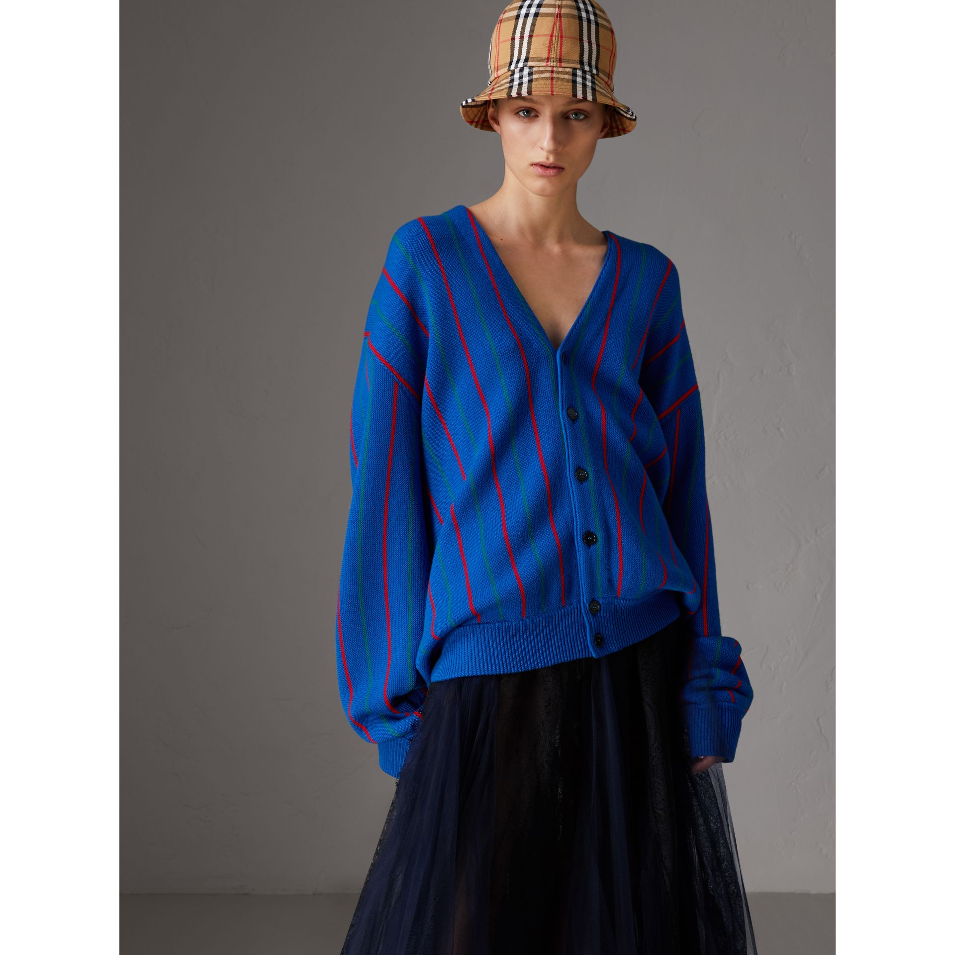 Reissued Striped Wool Cardigan in Royal Blue - Women | Burberry Australia - gallery image 5