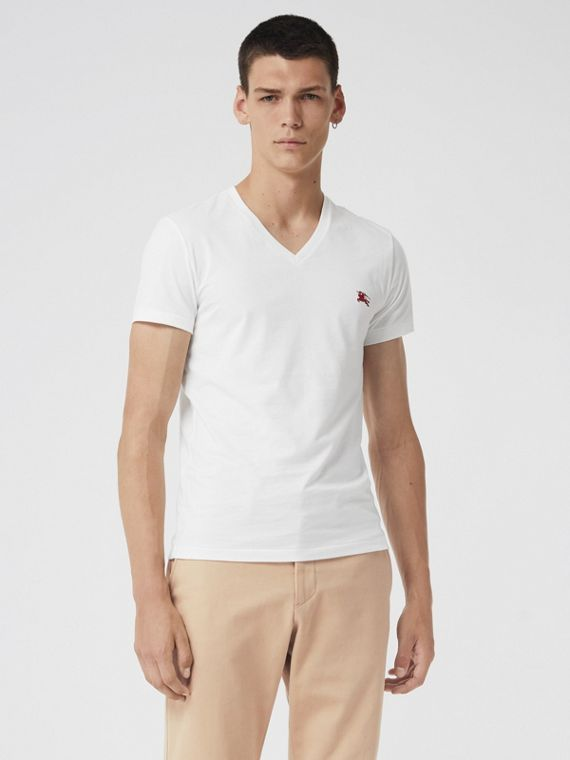 Cotton Jersey V-neck T-shirt in White