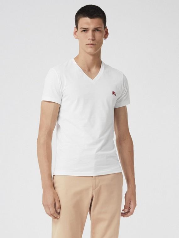 平織棉 V 領 T 恤 (白色)