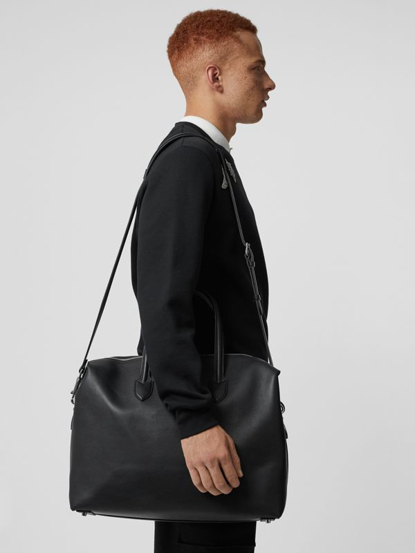 Soft Leather Holdall in Black - Men | Burberry - cell image 3