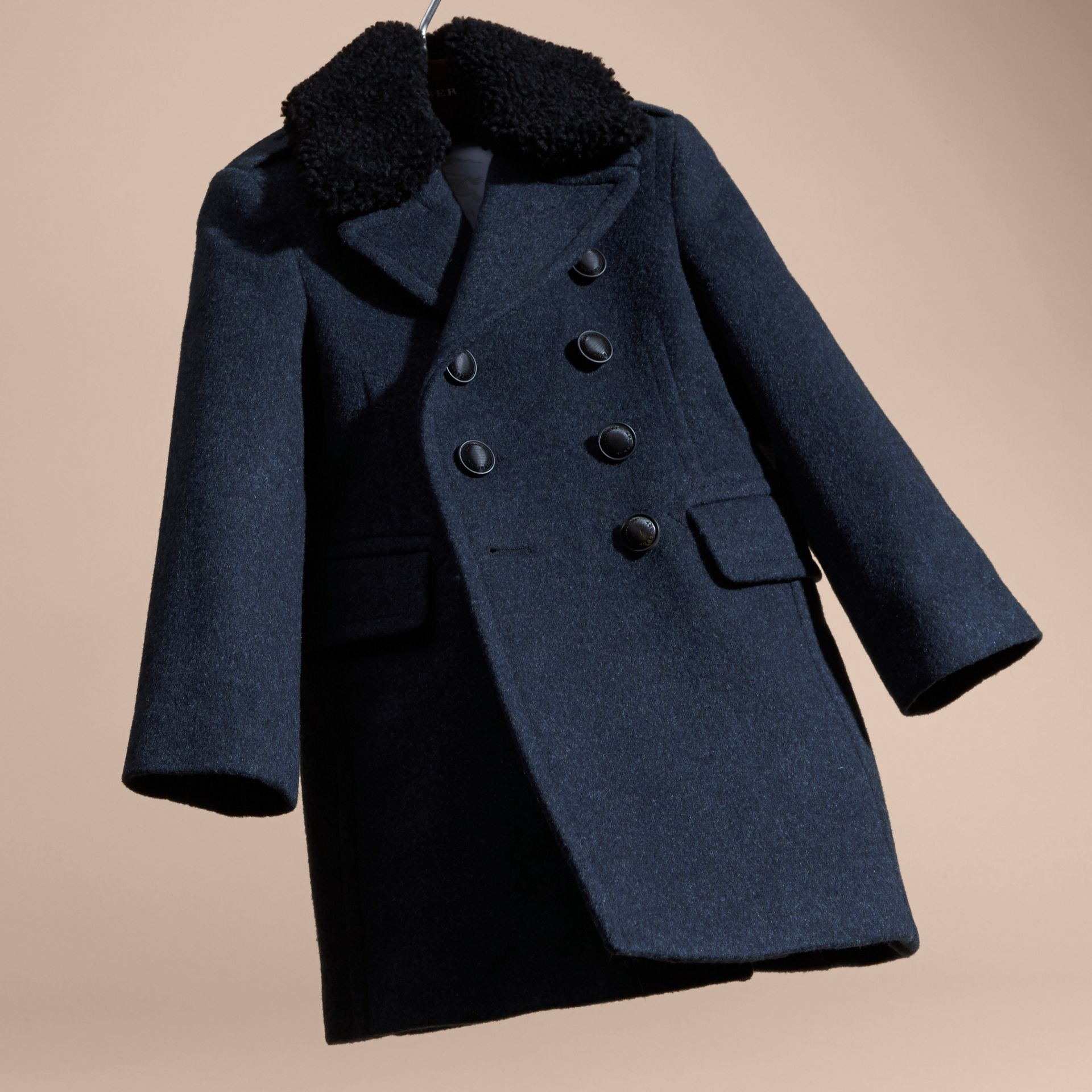 Airforce blue Technical Wool Coat with Detachable Shearling Collar - gallery image 5