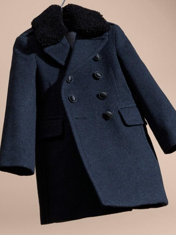 Bleu aérien Manteau en laine technique avec col amovible en shearling - cell image 2