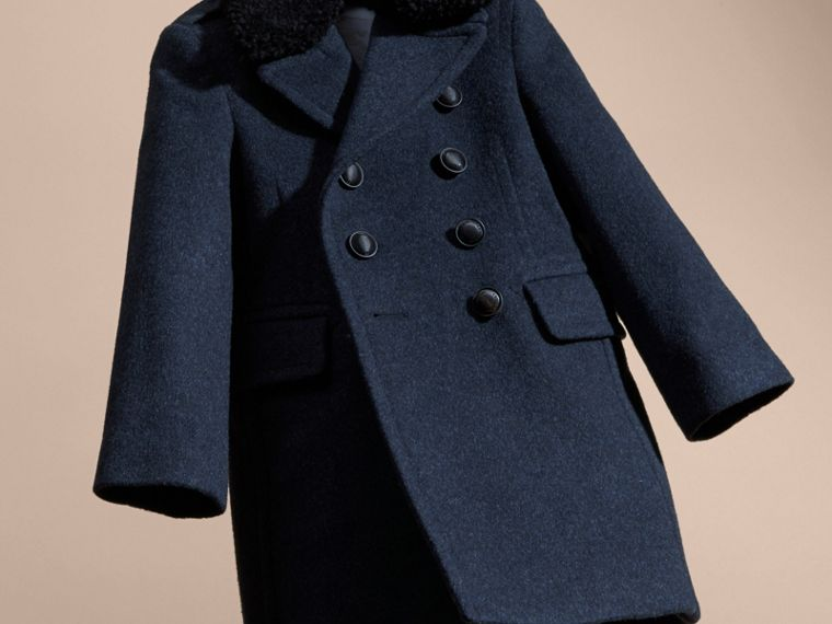 Detachable Shearling Collar Technical Wool Pea Coat - cell image 4