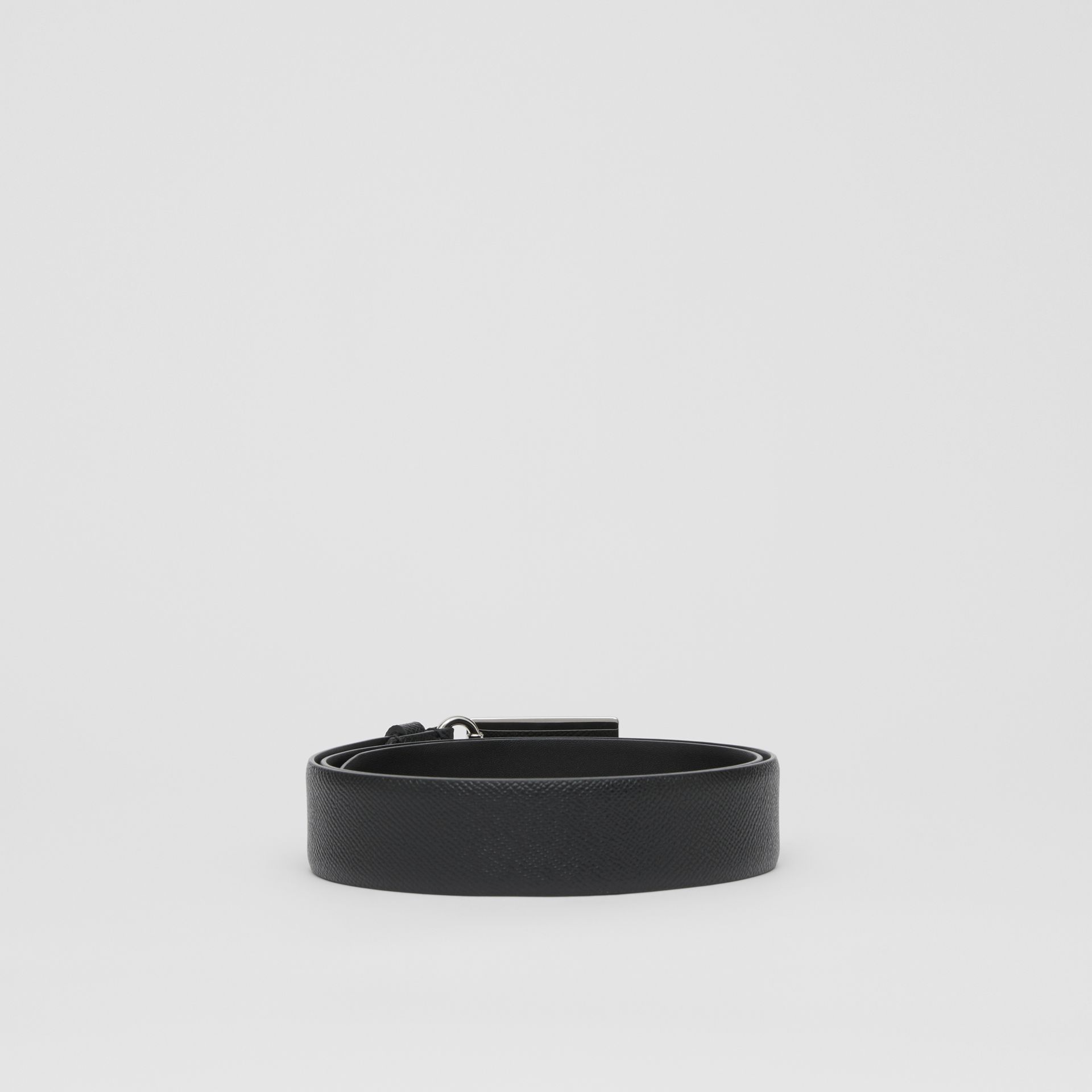 Plaque Buckle Grainy Leather Belt in Black - Men | Burberry Australia - gallery image 4