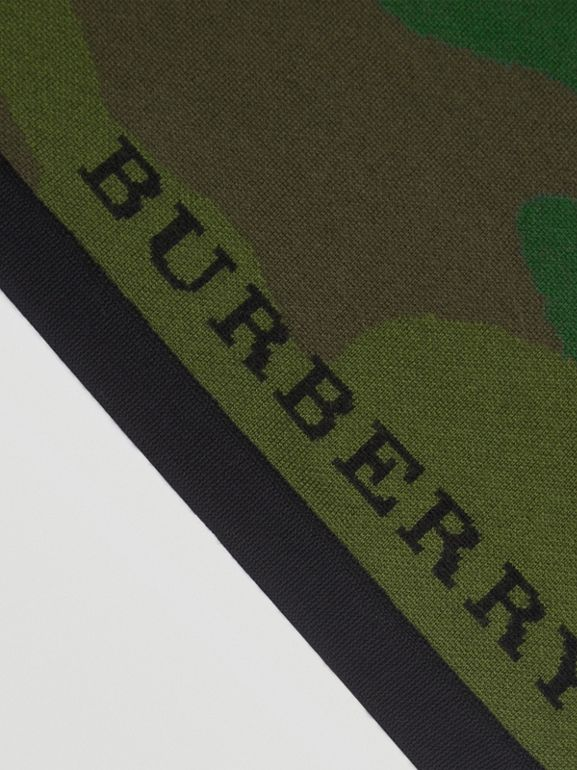 The Burberry Bandana in Camouflage Wool Blend in Khaki | Burberry - cell image 1