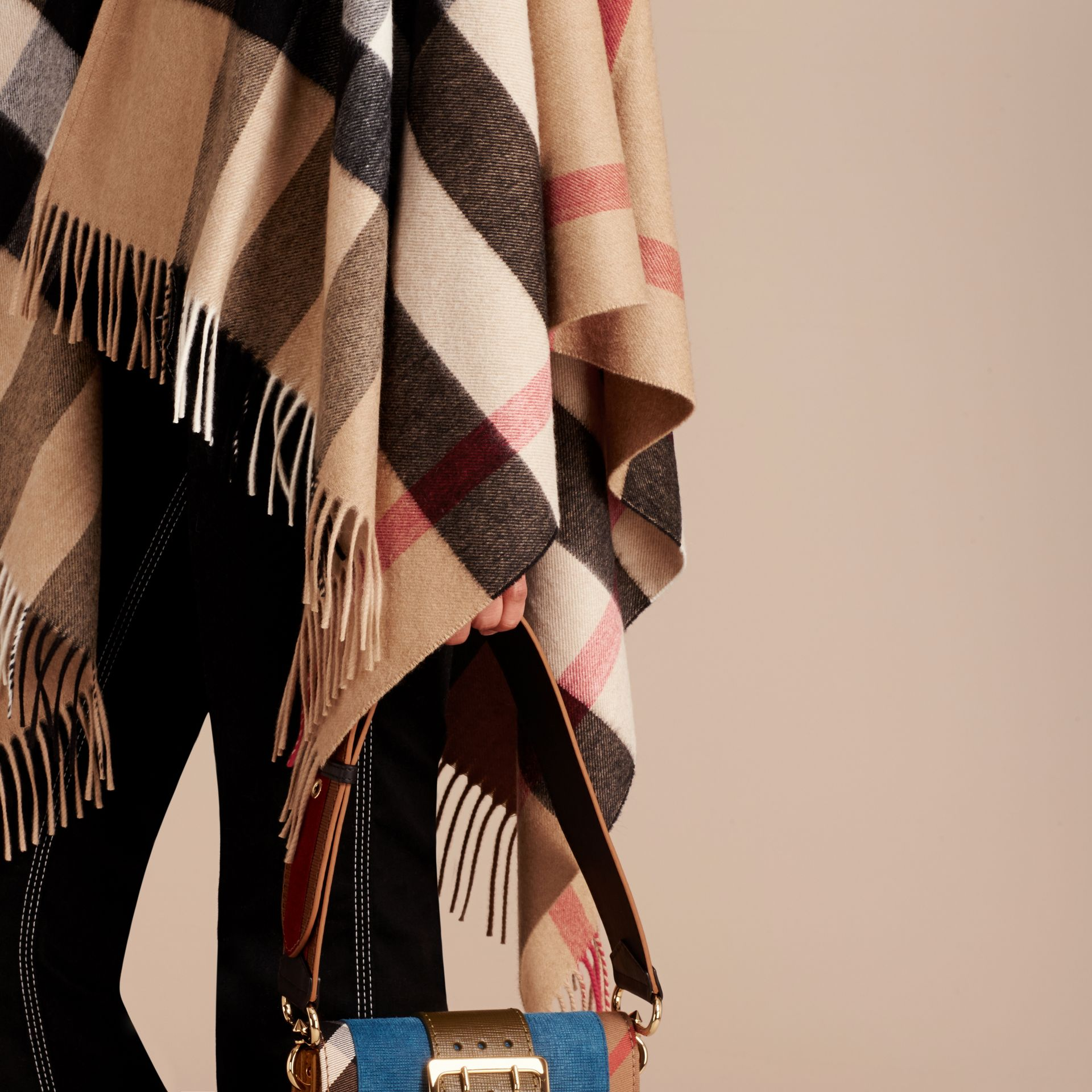 Camel Check Cashmere and Wool Poncho Camel - gallery image 6