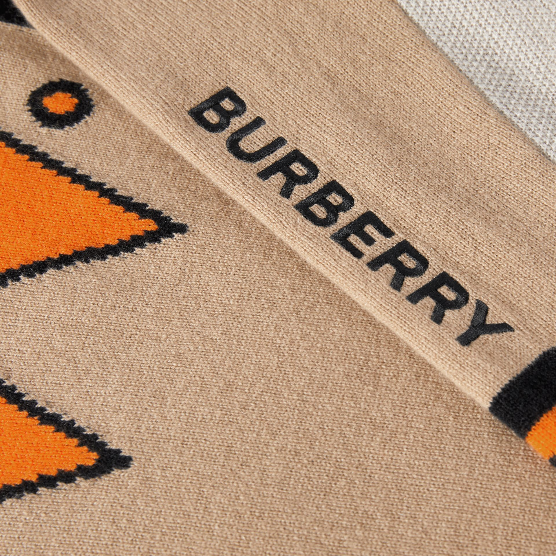 Trompe L'Oeil Intarsia Cashmere Sweater in Archive Beige - Girl | Burberry - gallery image 1