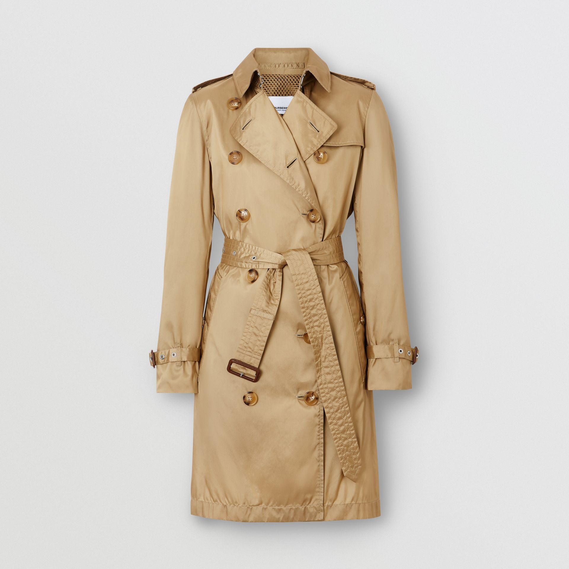 Detachable Hood ECONYL® Trench Coat in Honey - Women | Burberry - gallery image 3