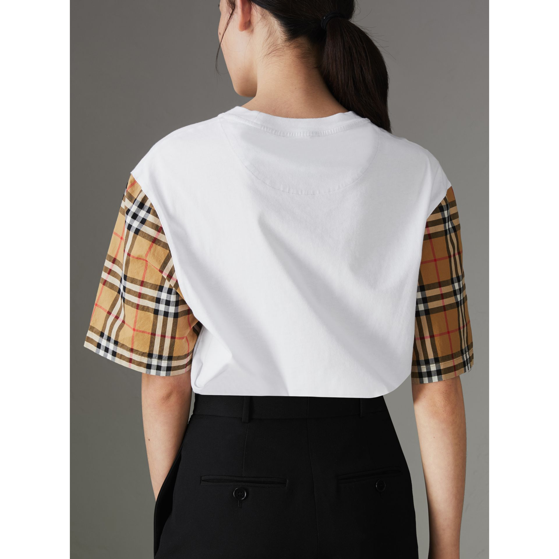 Vintage Check Sleeve Cotton T-shirt in White - Women | Burberry United Kingdom - gallery image 2