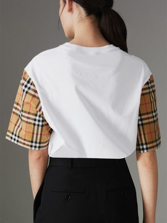 T-shirt in cotone con maniche in Vintage check (Bianco) - Donna | Burberry - cell image 2