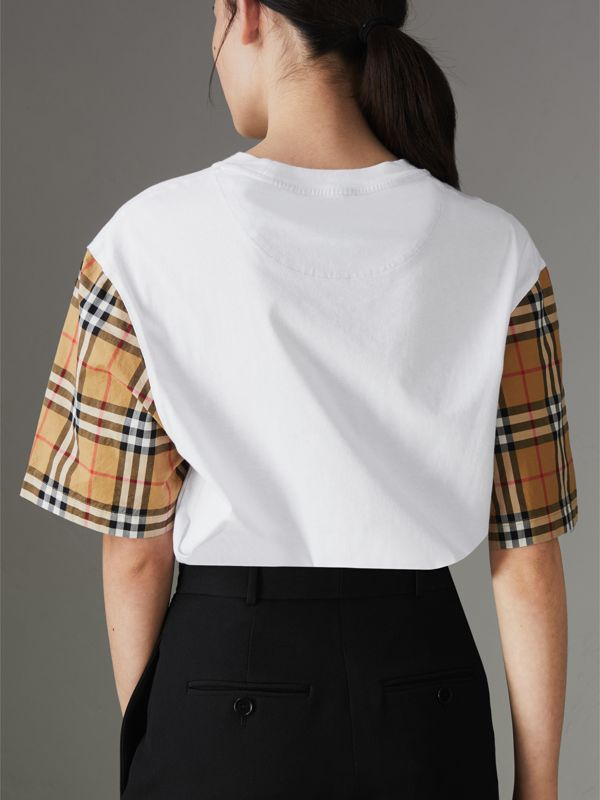 Vintage Check Sleeve Cotton T-shirt in White - Women | Burberry Australia - cell image 2