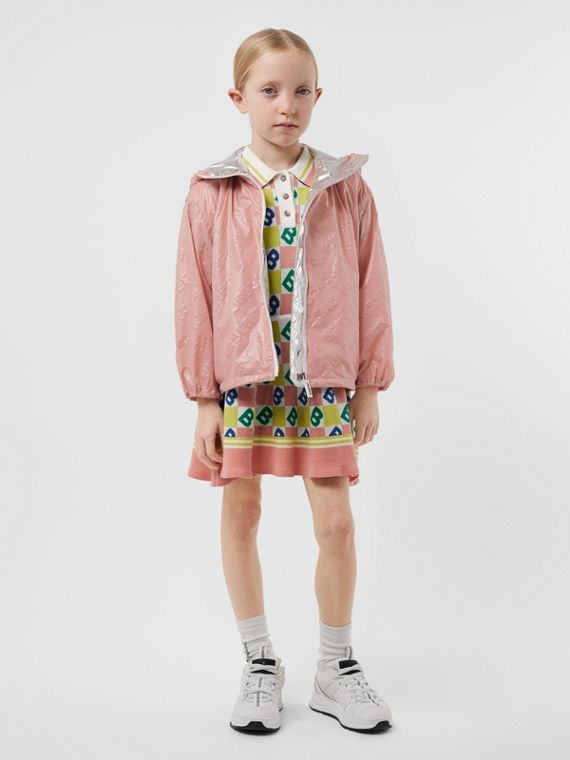 Logo Print Lightweight Hooded Jacket in Dusty Pink