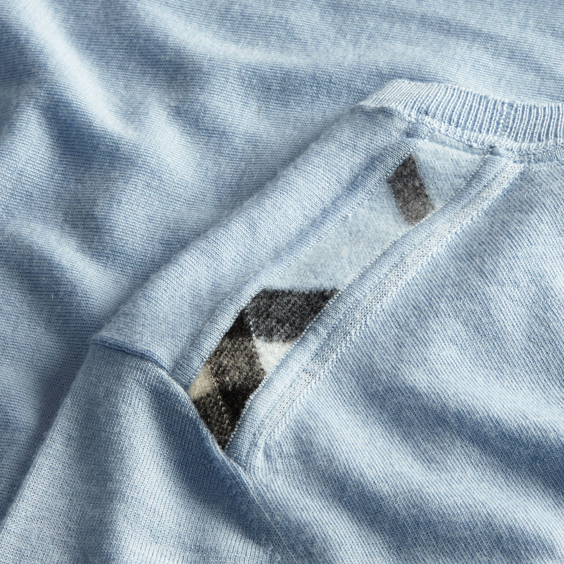 Lightweight Crew Neck Cashmere Sweater with Check Trim in Light Blue - Men | Burberry - gallery image 2