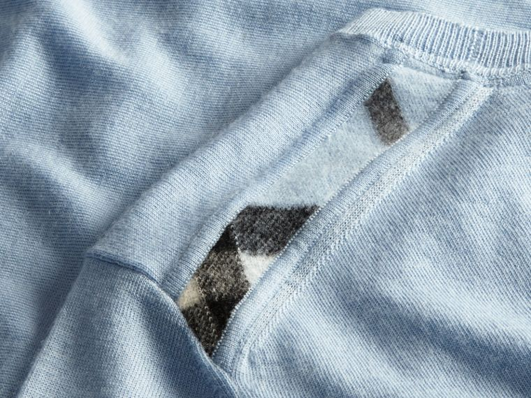 Lightweight Crew Neck Cashmere Sweater with Check Trim in Light Blue - Men | Burberry - cell image 1