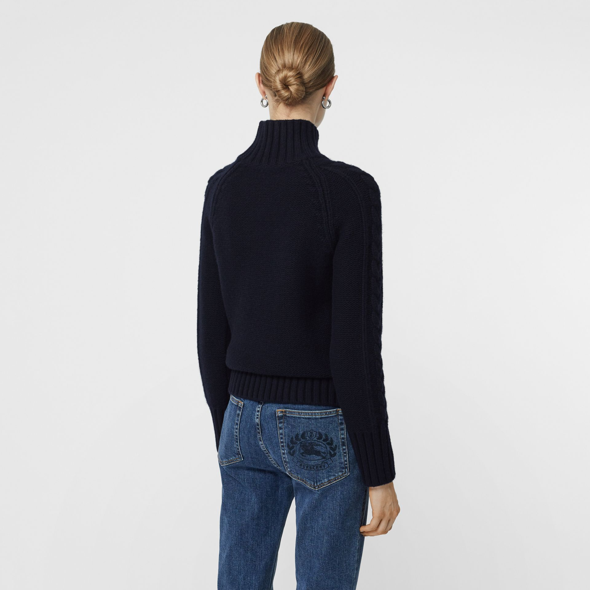 Cable Knit Cashmere Turtleneck Sweater in Navy - Women | Burberry - gallery image 2