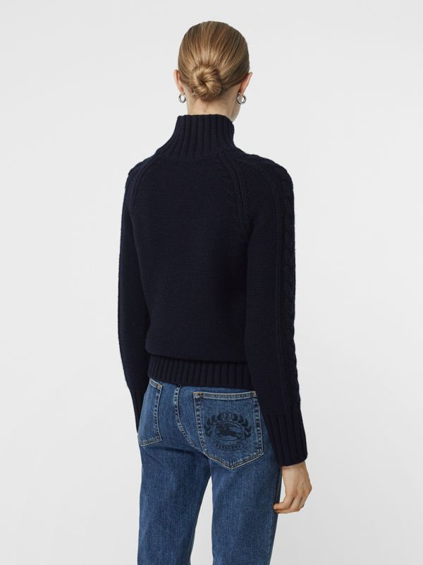 Cable Knit Cashmere Turtleneck Sweater in Navy - Women | Burberry Singapore - cell image 2