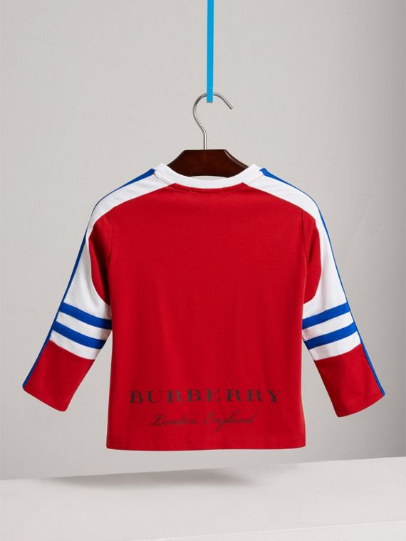 Graphic Motif Stripe Detail Cotton Top in Parade Red - Boy | Burberry United Kingdom - cell image 3