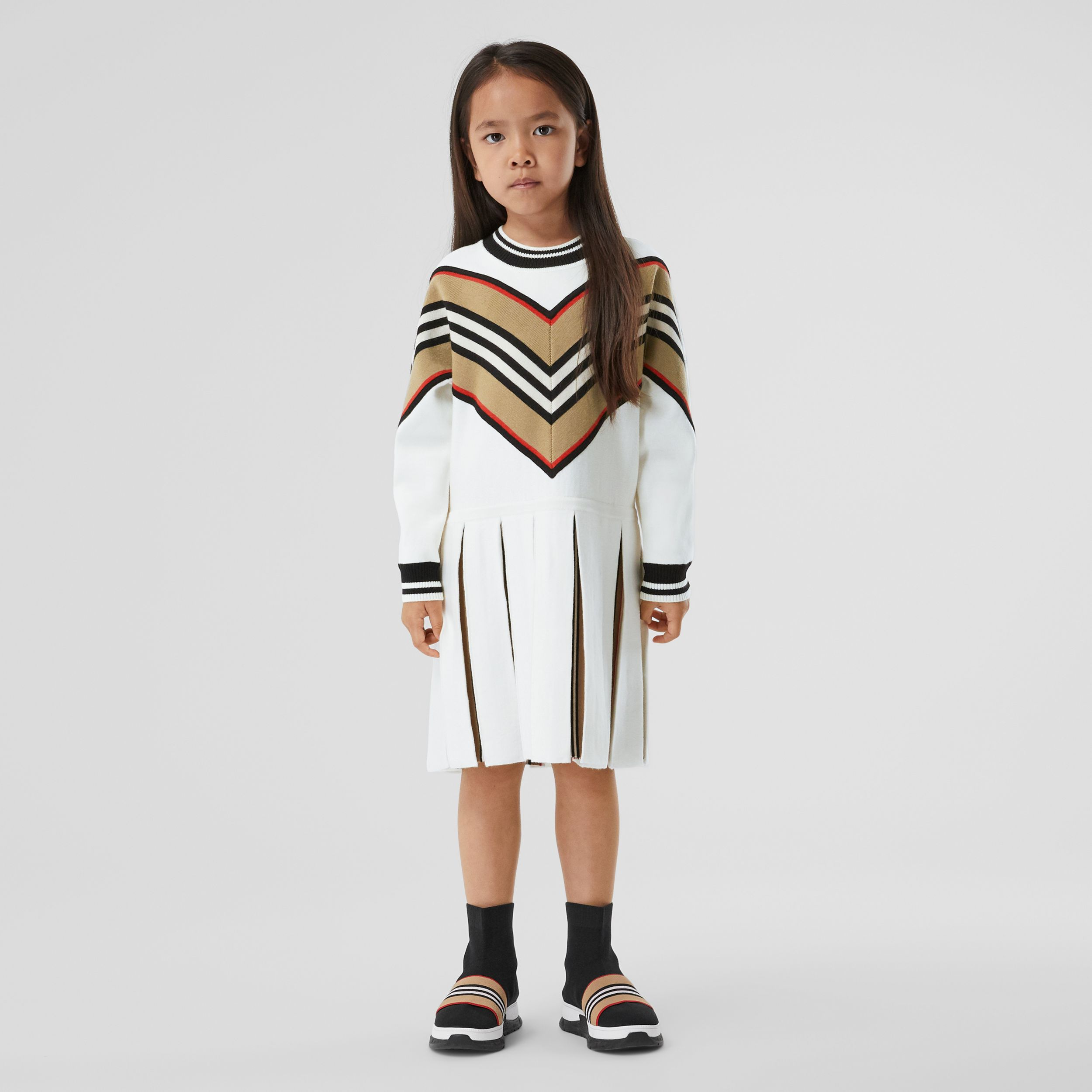 Long-sleeve Icon Stripe Panel Wool Blend Dress | Burberry - 3