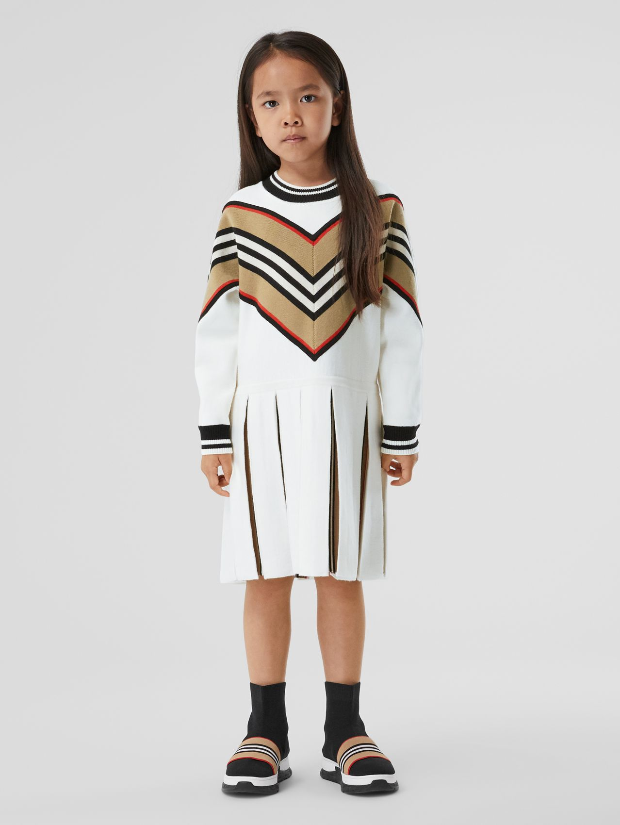 Long-sleeve Icon Stripe Panel Wool Blend Dress