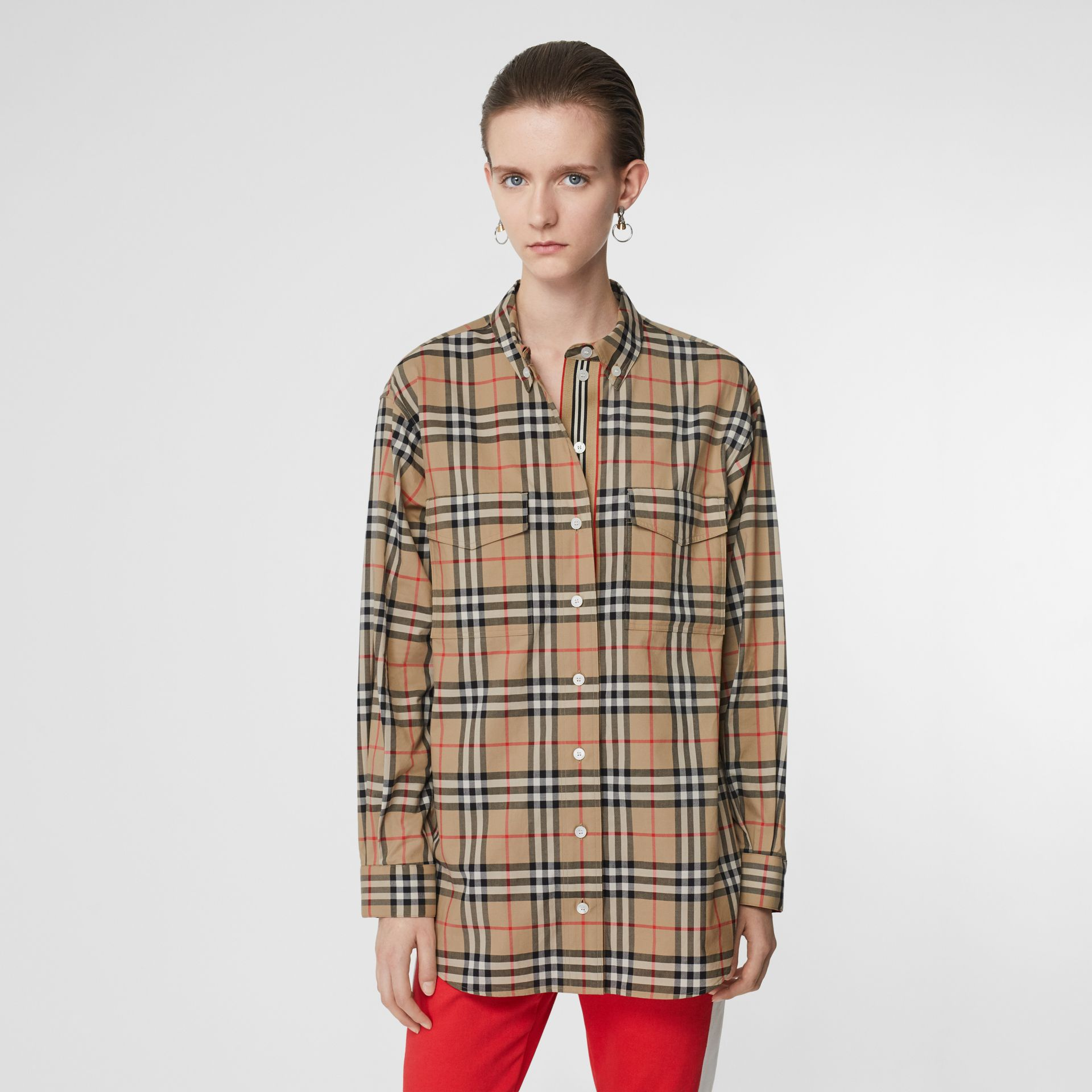 Button-down Collar Vintage Check Oversized Shirt in Archive Beige - Women | Burberry United Kingdom - gallery image 0