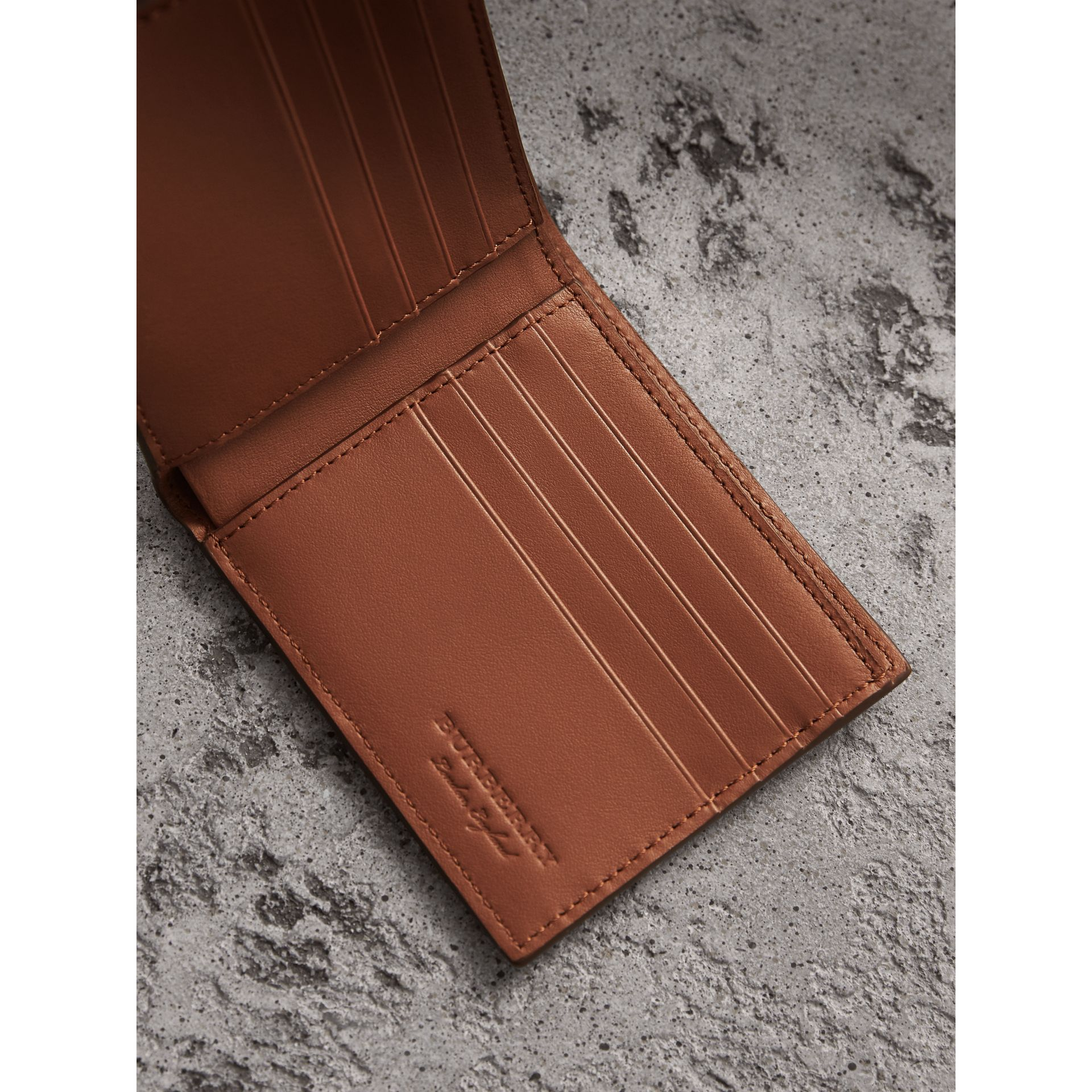Embossed Leather Bifold Wallet in Chestnut Brown - Men | Burberry - gallery image 3