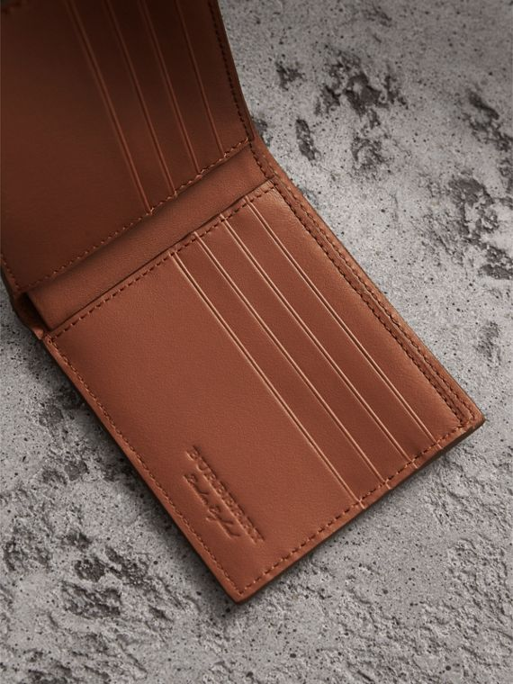 Embossed Leather Bifold Wallet in Chestnut Brown - Men | Burberry United Kingdom - cell image 3