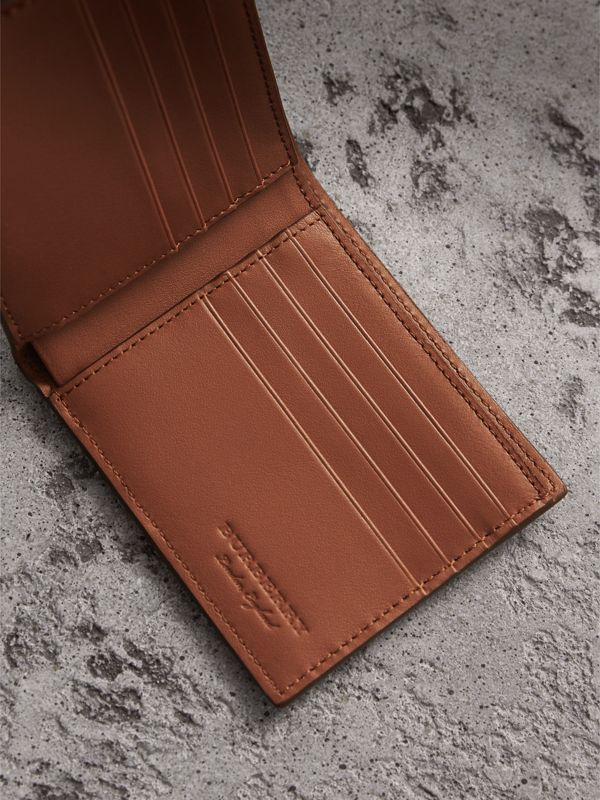 Embossed Leather Bifold Wallet in Chestnut Brown - Men | Burberry - cell image 3