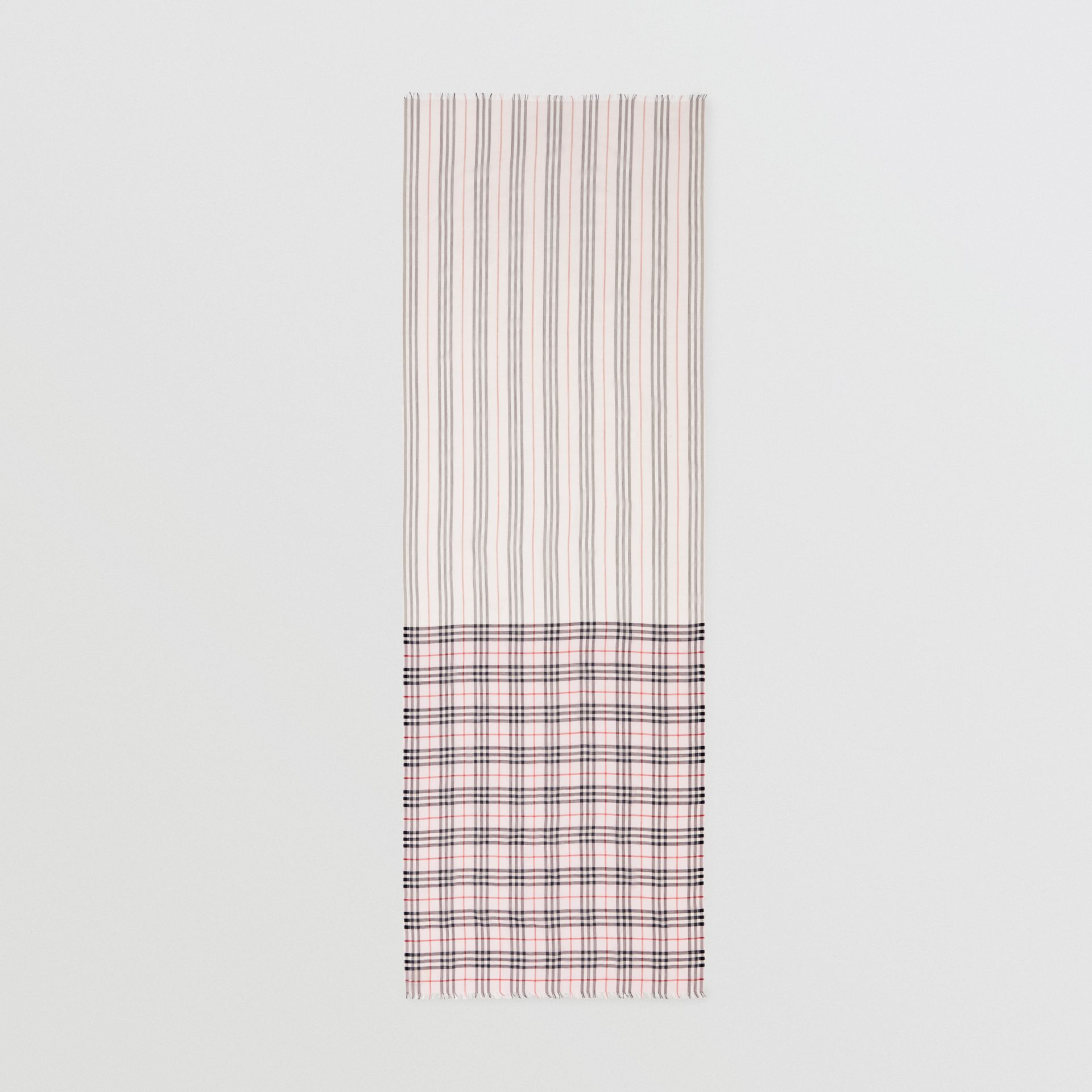 Icon Stripe and Vintage Check Wool Silk Scarf in Alabaster Pink | Burberry - gallery image 5