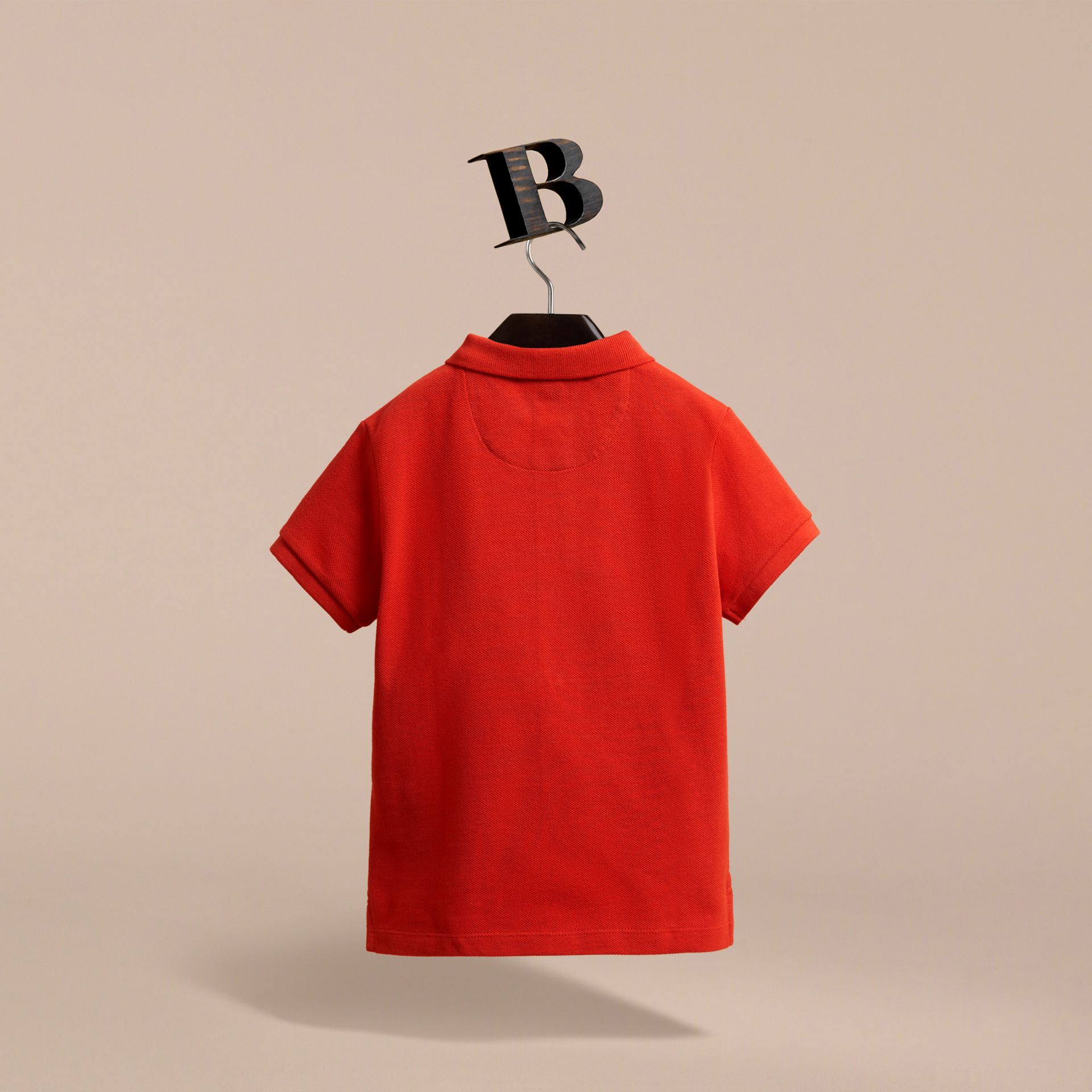 Check Placket Polo Shirt in Orange Red - gallery image 3