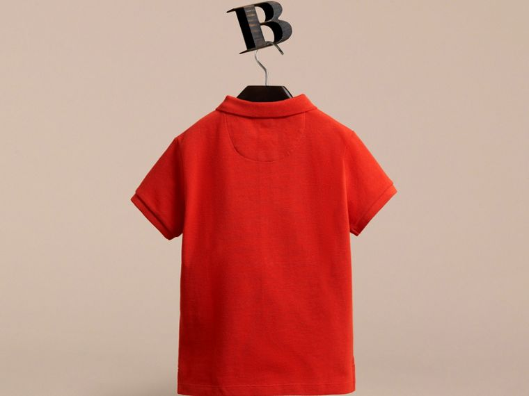 Check Placket Polo Shirt in Orange Red - cell image 2