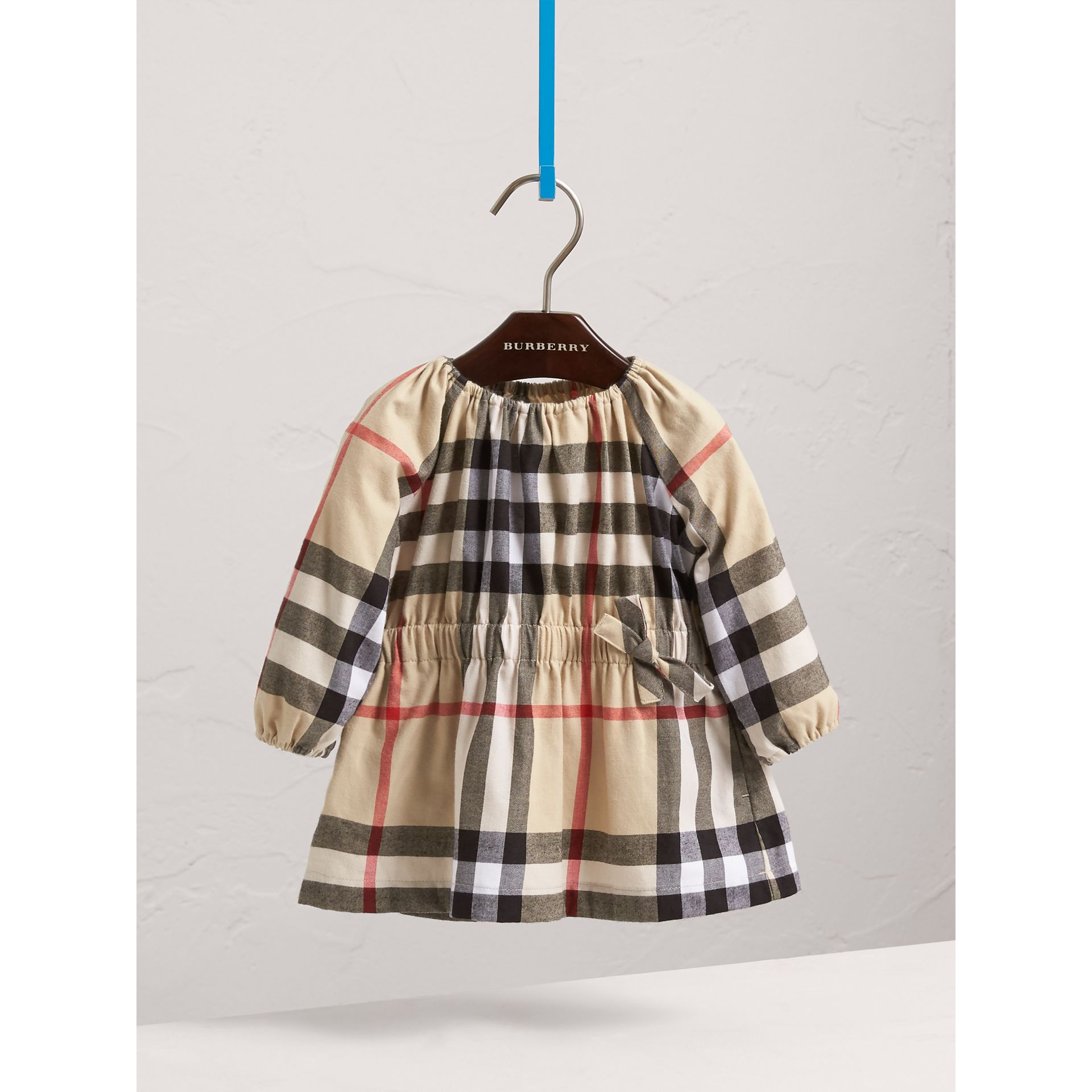 Gathered Check Cotton Flannel Dress in New Classic | Burberry - gallery image 3