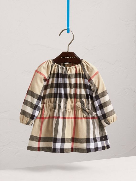 Gathered Check Cotton Flannel Dress in New Classic | Burberry - cell image 2