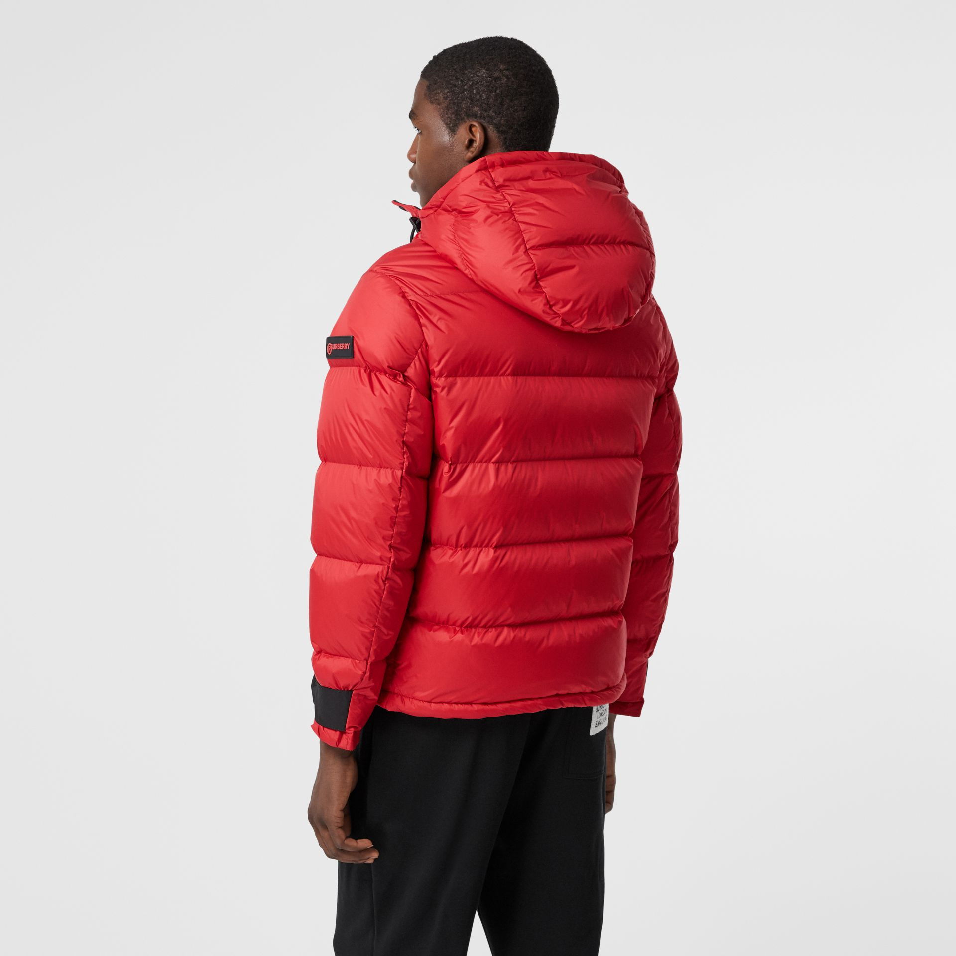 Logo Graphic Hooded Puffer Jacket in Bright Red - Men | Burberry - gallery image 2