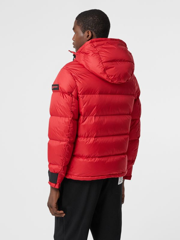 Logo Graphic Hooded Puffer Jacket in Bright Red - Men | Burberry - cell image 2