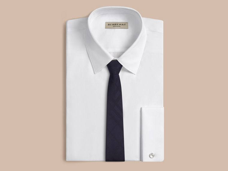 Navy Cravatta dal taglio sottile in seta con motivo check Navy - cell image 2