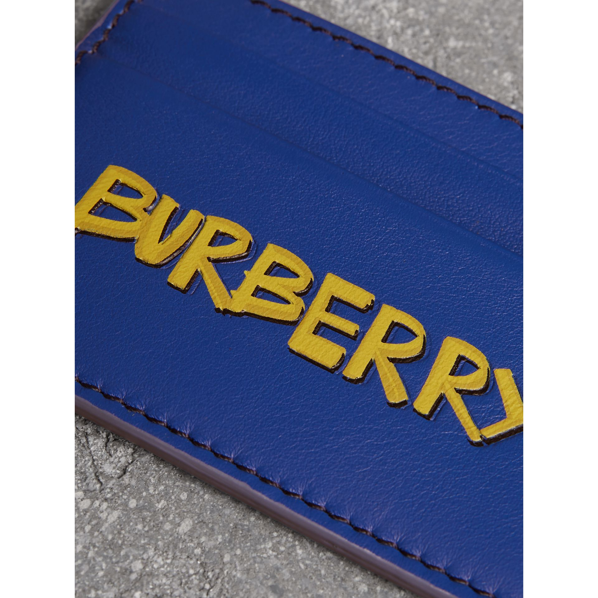 Graffiti Print Leather Card Case in Denim Blue | Burberry - gallery image 1