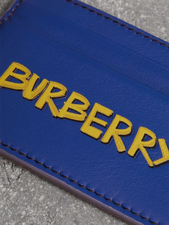 Graffiti Print Leather Card Case in Denim Blue | Burberry United Kingdom - cell image 1