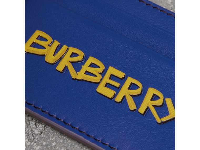 Graffiti Print Leather Card Case in Denim Blue | Burberry - cell image 1