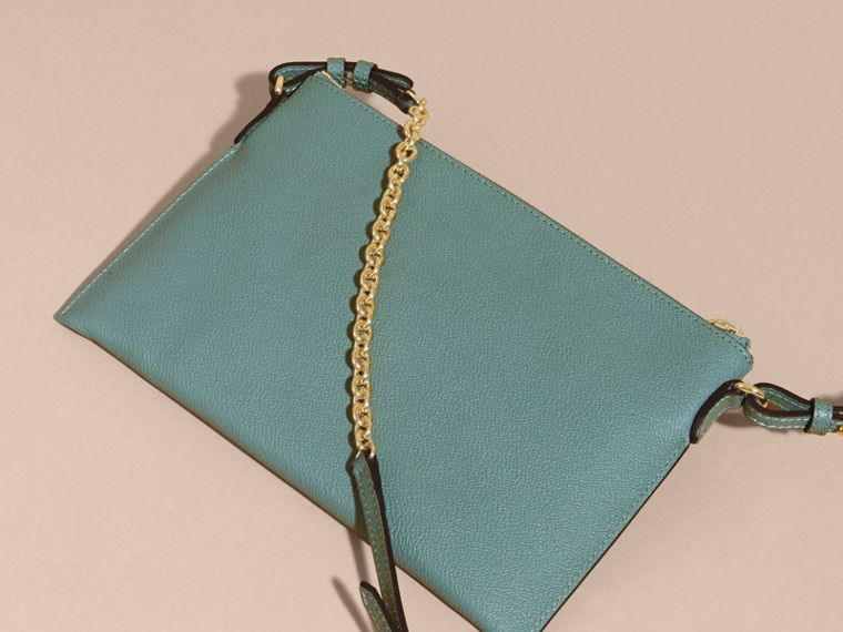 Leather Clutch Bag with Check Lining in Eucalyptus Green - Women | Burberry - cell image 4