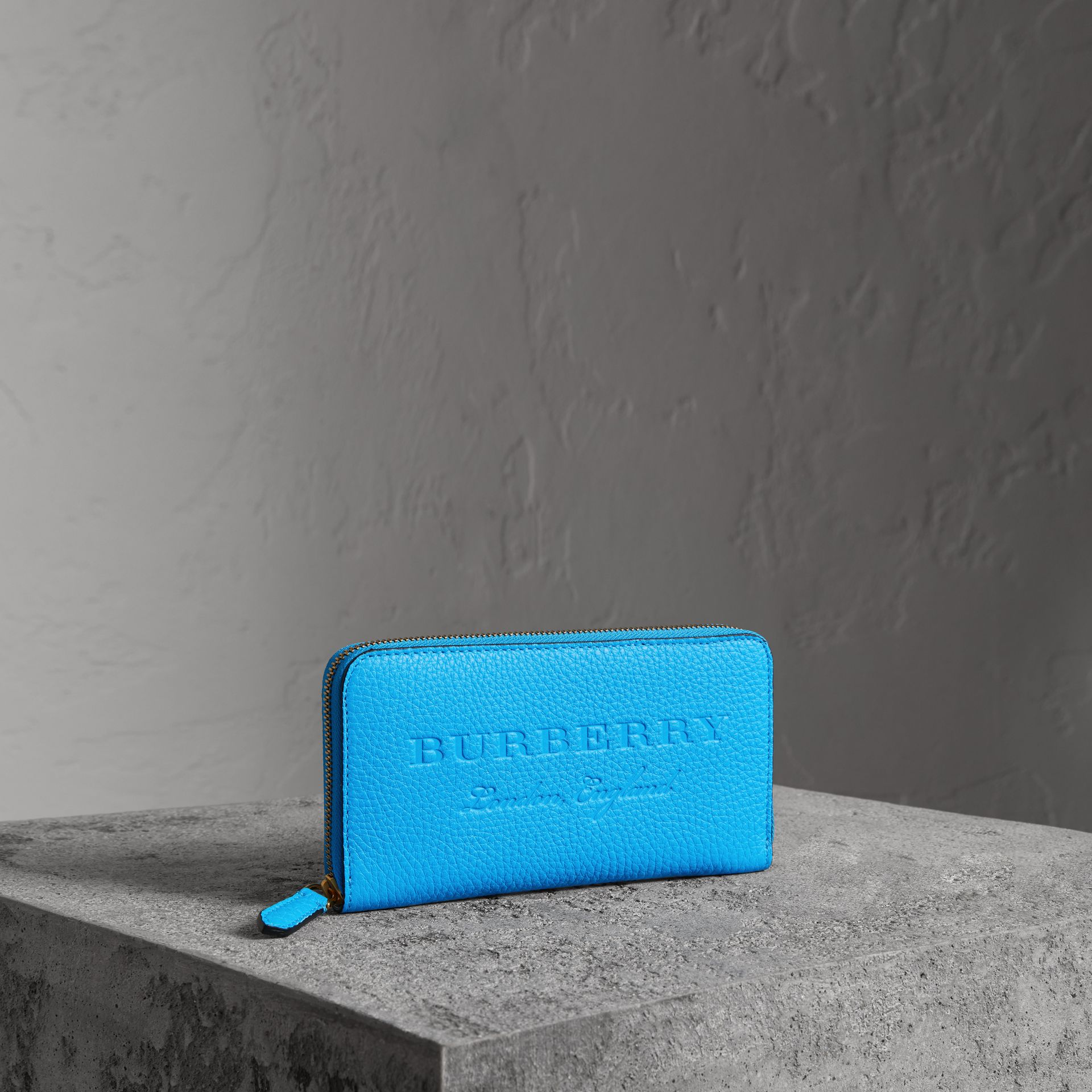 Embossed Leather Ziparound Wallet in Bright Blue - Women | Burberry Hong Kong - gallery image 0