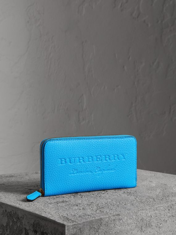 Embossed Leather Ziparound Wallet in Bright Blue