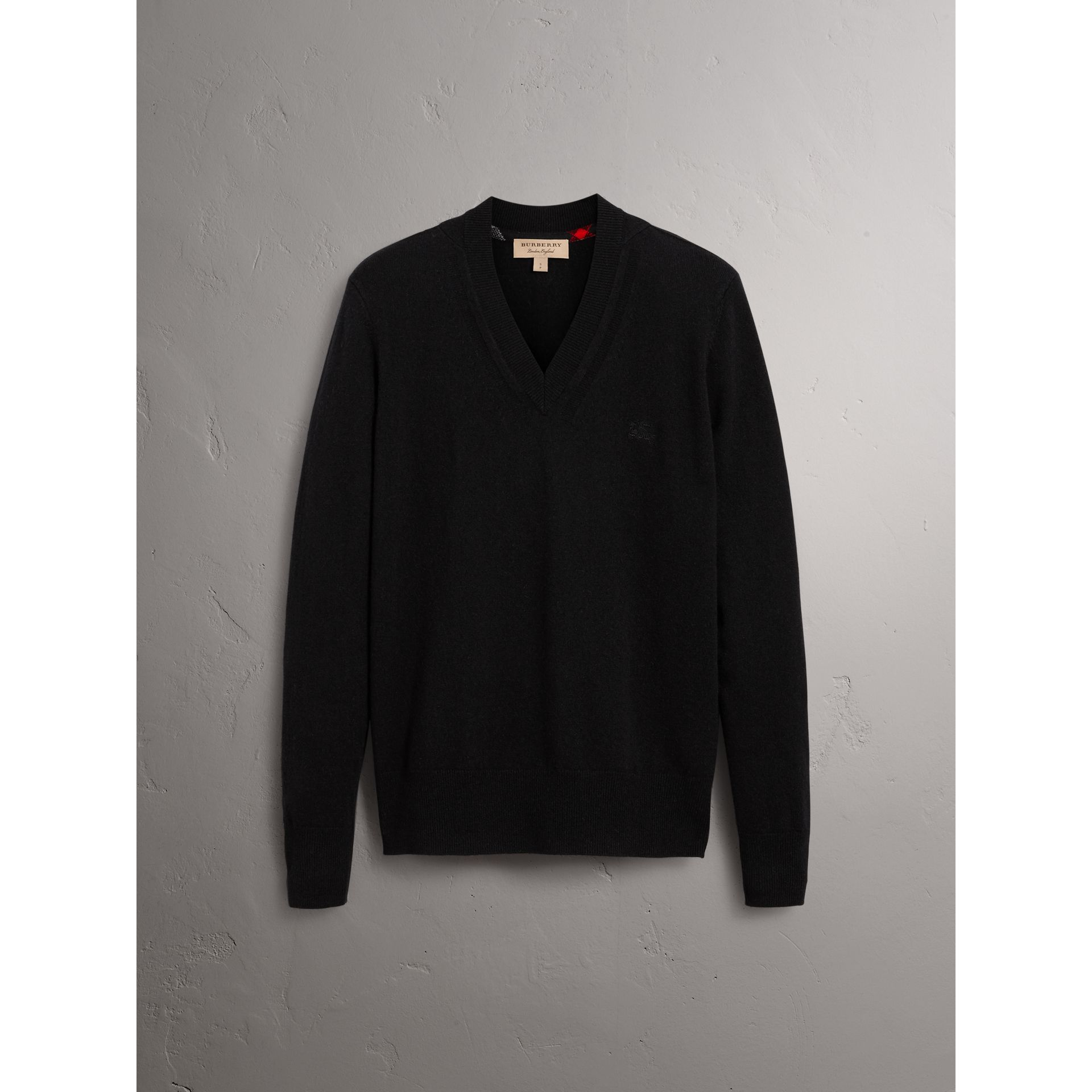 Cashmere V-neck Sweater in Black - Men | Burberry United Kingdom - gallery image 3