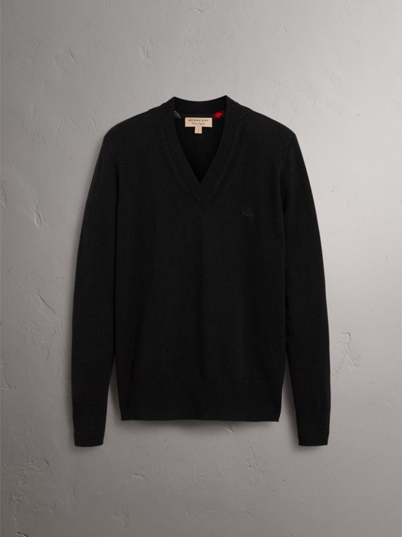 Cashmere V-neck Sweater in Black - Men | Burberry United Kingdom - cell image 3