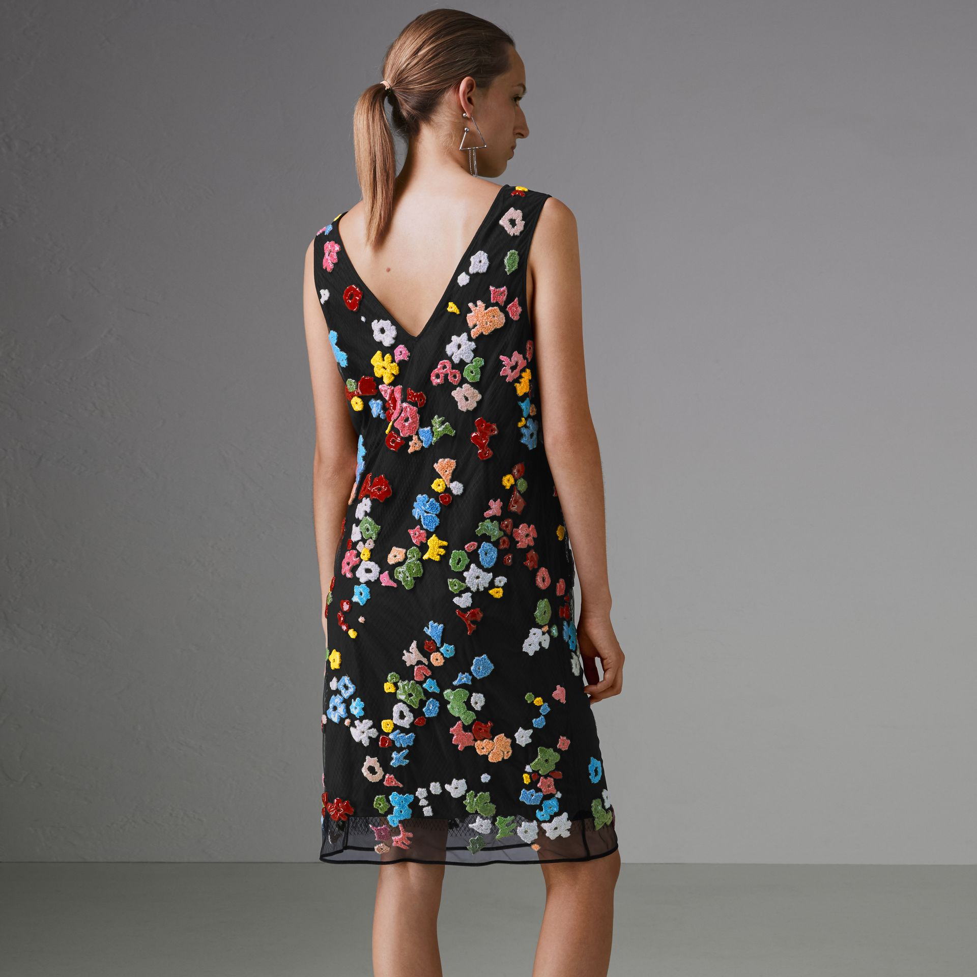Hand-beaded Floral Dress in Black/bright Red - Women | Burberry - gallery image 2