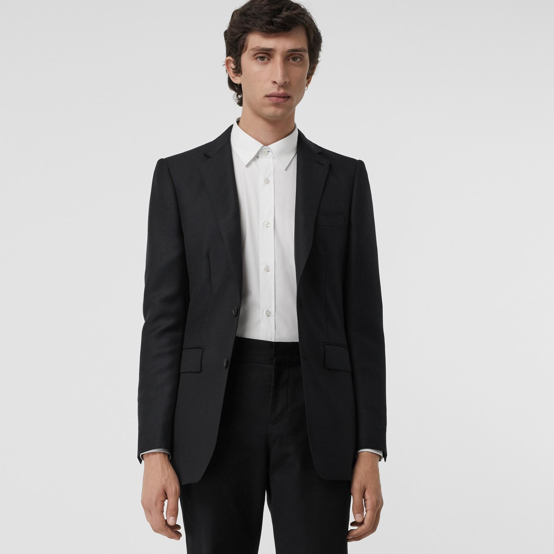 슬림핏 울 모헤어 테일러드 재킷 (블랙) - 남성 | Burberry - 갤러리 이미지 3