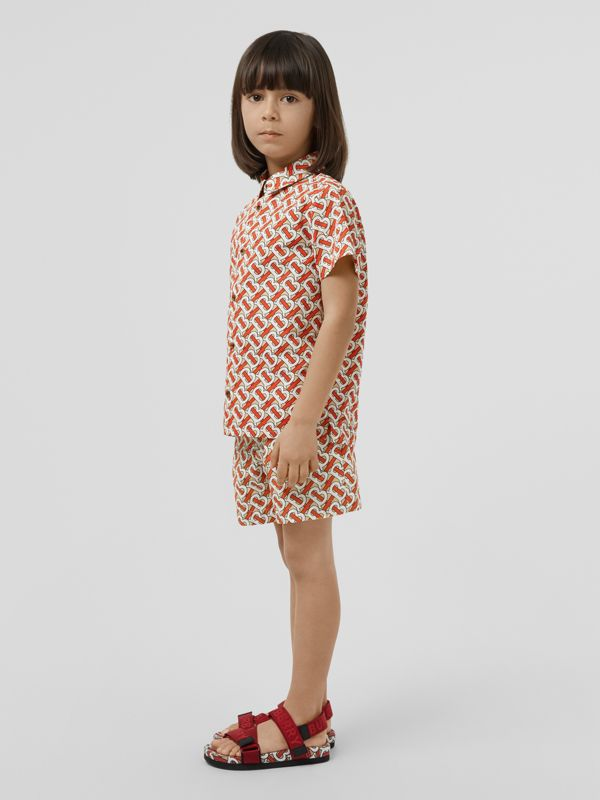 Monogram Print Cotton Poplin Shorts in Vermilion Red | Burberry United States - cell image 2