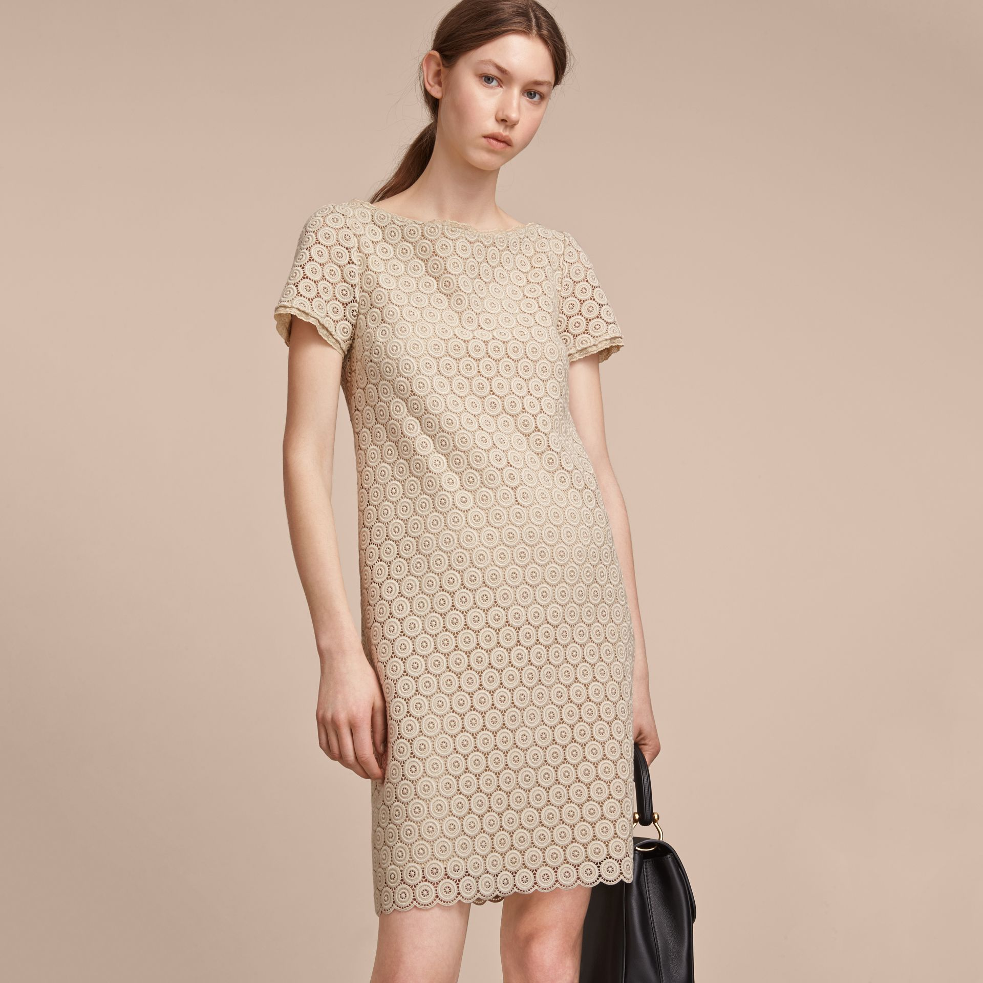 Short-sleeve Geometric Lace Dress in Stone - Women | Burberry - gallery image 6