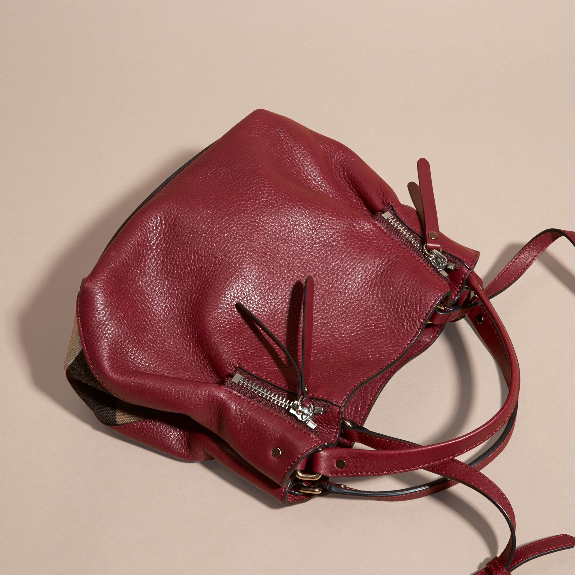 Burgundy red Small Check Detail Leather Tote Bag - gallery image 4