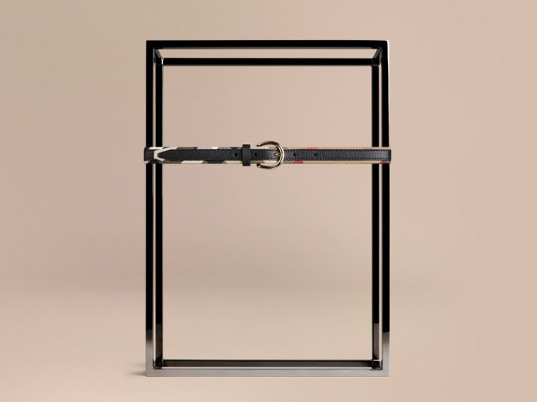 Black House Check and Bridle Leather Belt Black - cell image 1