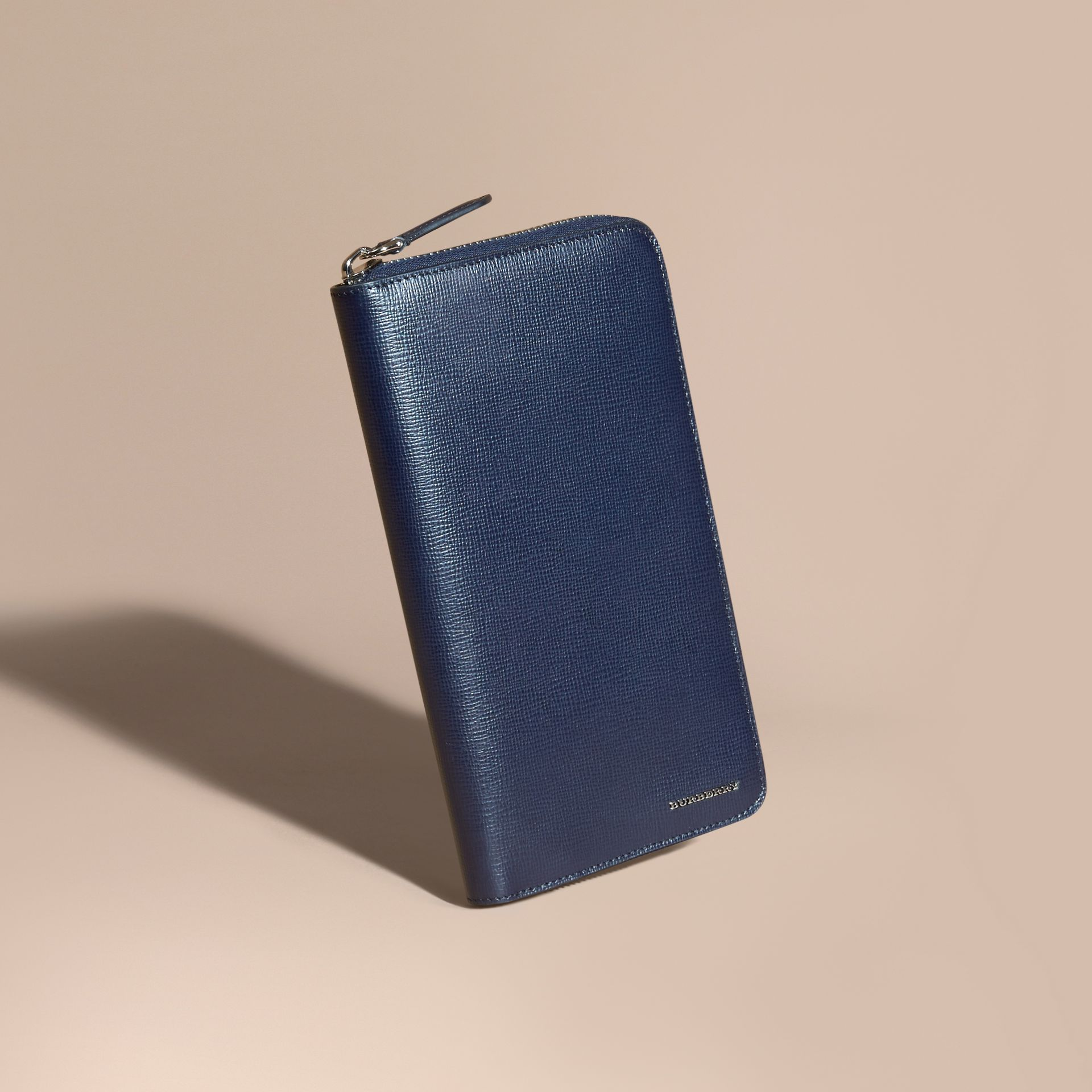 London Leather Ziparound Wallet in Dark Navy - gallery image 1